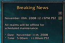 Maintenance for Tuesday November 11th