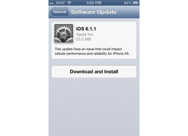 iOS 6.1.1 rolling out for the iPhone 4S