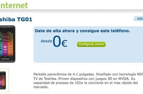 Toshiba TG01 now available on Movistar in Spain