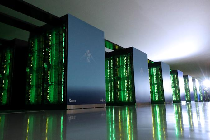 This picture taken on June 16, 2020 shows Japan's Fugaku supercomputer at the Riken Center for Computational Science in Kobe, Hyogo prefecture. - The Fugaku supercomputer, built with government backing and used in the fight against the COVID-19 coronavirus, is now ranked as the world's fastest, its developers announced on June 22, 2020. (Photo by STR / JIJI PRESS / AFP) / Japan OUT (Photo by STR/JIJI PRESS/AFP via Getty Images)