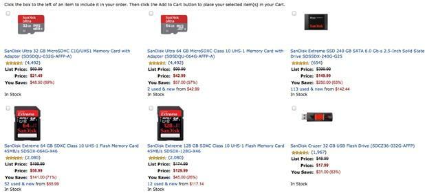 Amazon slashes price of select SanDisk offerings for one day only