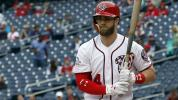 Harper wears glasses to bat after contact issues