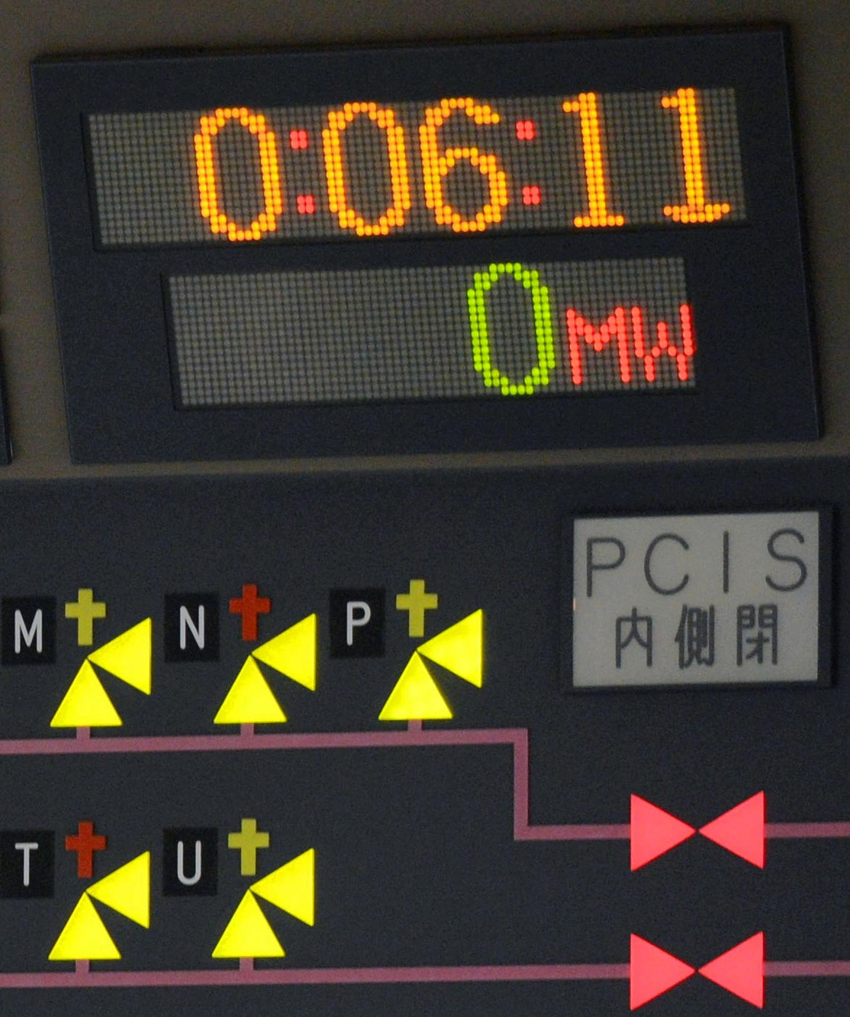A monitor shows the generating power at 0 inside the central control room of the No. 6 reactor at the Tokyo Electric Power Company's nuclear power plant in Kariwa village in Kashiwazaki City, Japan, northwest of Tokyo early Monday, March 26, 2012, after it was taken off line. The nuclear reactor was taken off line for maintenance on Monday, leaving the country with only one of its 54 reactors operational following last year's devastating earthquake and tsunami. (AP Photo/Kyodo News) JAPAN OUT, MANDATORY CREDIT, NO LICENSING IN CHINA, HONG KONG, JAPAN, SOUTH KOREA AND FRANCE