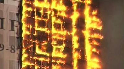 Raw: Fire Engulfs 40-story Building in Chechnya