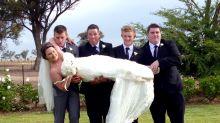 Bride gets dropped by groomsmen
