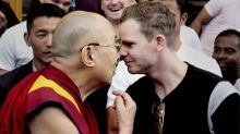 Steve Smith relaxes after meeting the Dalai Lama