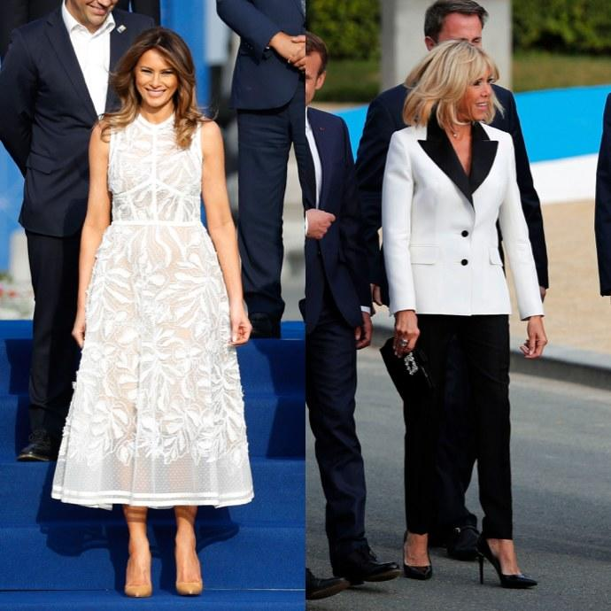 In Belgium, Brigitte Macron and Melania Trump Are Style Opposites—But With a Similar Message