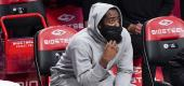 Brooklyn Nets guard James Harden watches from the bench during the first half of game against the Charlotte Hornets, Friday, April 16, 2021, in New York. (AP Photo/Mary Altaffer)