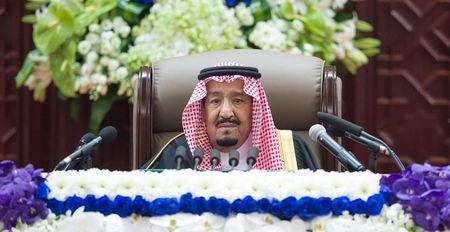 Saudi Arabia's King Salman bin Abdulaziz Al Saud addresses the Shura Council in Riyadh, Saudi Arabia November 19, 2018. Bandar Algaloud/Courtesy of Saudi Royal Court/Handout via REUTERS