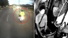CCTV shows moments before distracted bus driver ploughed into scooter riders