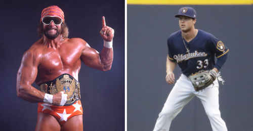 Macho Man Randy Savage and Brewers rookie Brett Phillips. (WWE, AP)