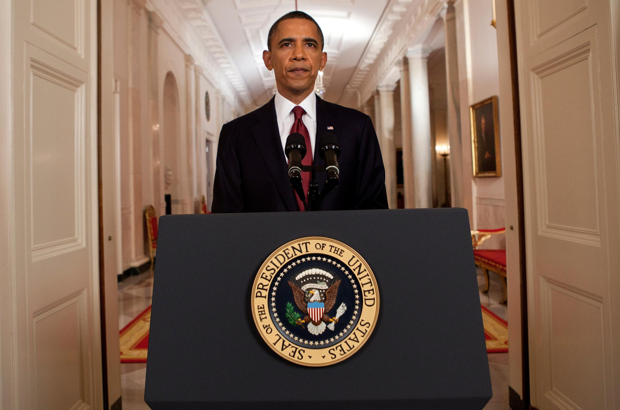 U.S. President Barack Obama stands after addressing the nation on TV from the East Room of the White House to make a televised statement May 1, 2011 in Washington, DC. Bin Laden has been killed near Islamabad, Pakistan almost a decade after the terrorist attacks of Sept. 11, 2001 and his body is in possession of the United States. (Photo by Brendan Smialowski-Pool/Getty Images)