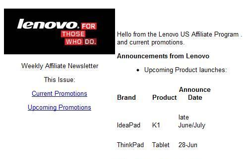 Lenovo ThinkPad, IdeaPad tablets coming later this month?