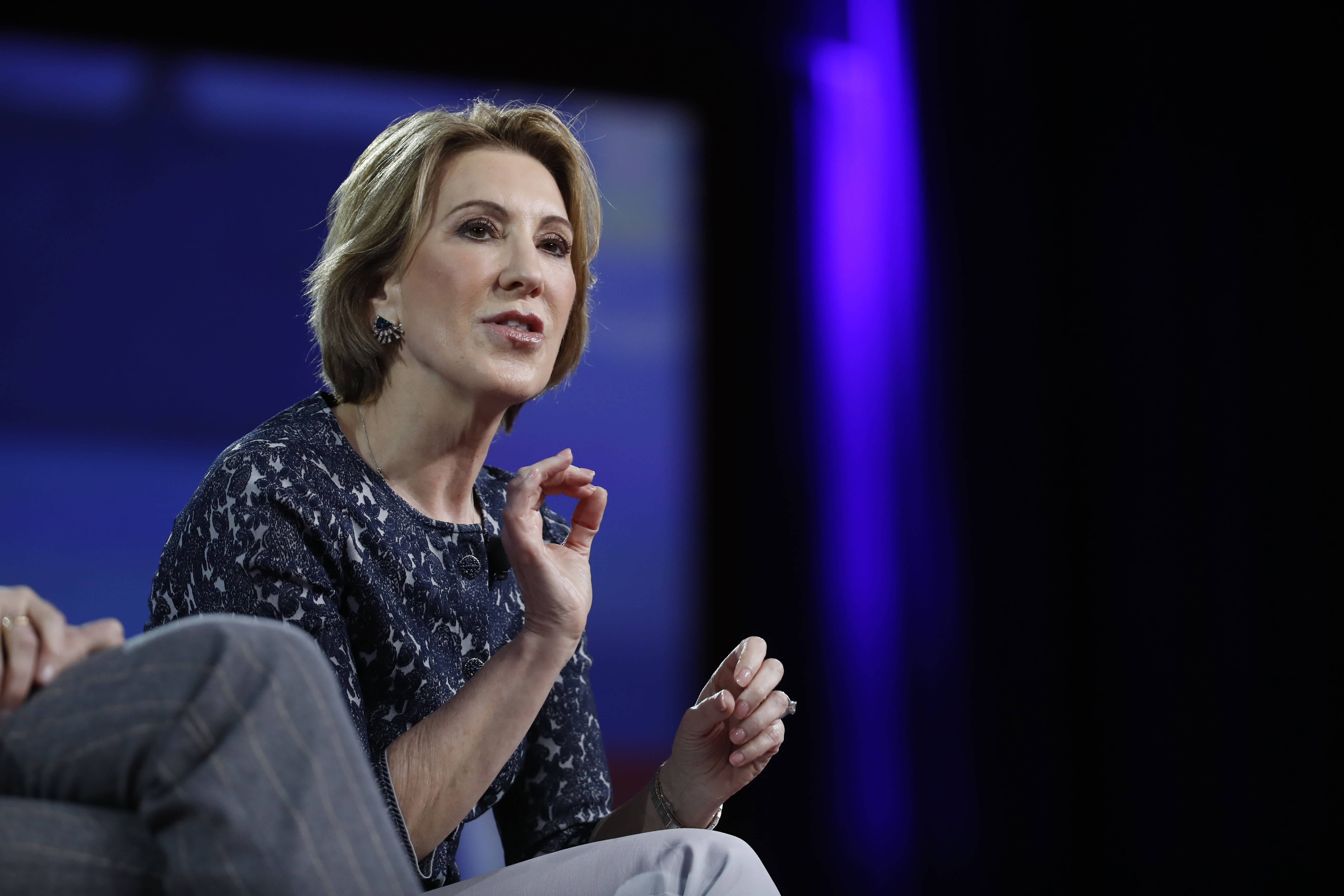 """FILE - In this Feb. 24, file photo, Carly Fiorina speaks at the Conservative Political Action Conference (CPAC), in Oxon Hill, Md. When President Donald Trump called porn actress Stormy Daniels """"horseface"""" on Twitter, he added to his long list of creative, some say misogynistic, descriptions for women. A look at how Trump's words, and his attitude, might play out three weeks before an election that features a record number of women candidates. (AP Photo/Alex Brandon, File)"""