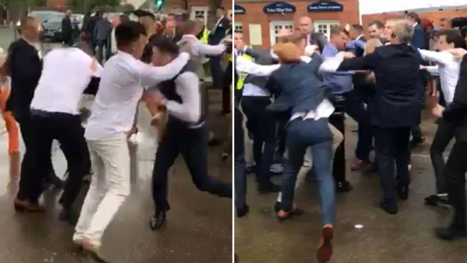 British punters disgrace themselves in mass brawl at Royal Ascot