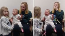 Baby's charming response to hearing sister's voice for the first time after getting hearing aid