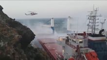 Dramatic rescue from ship stranded in stormy seas