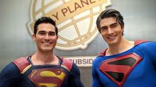 Superman past and present Brandon Routh and Tyler Hoechlin pose on 'Crisis On Infinite Earths' set