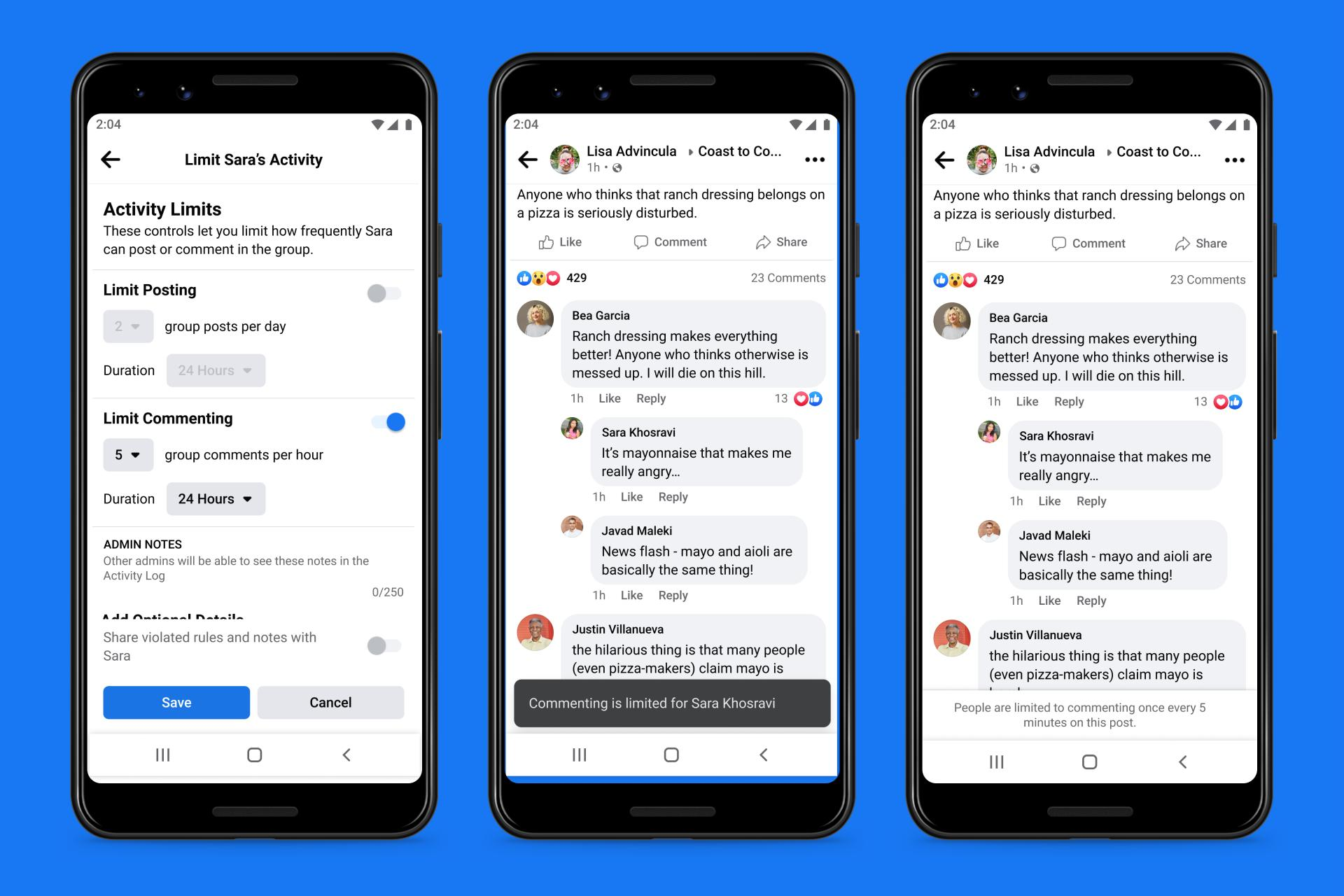 Facebook will allow group admins to 'slow down' comments to keep conversations from getting too heated or toxic.