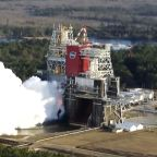 NASA test fires engines on moon rocket but shuts it down early