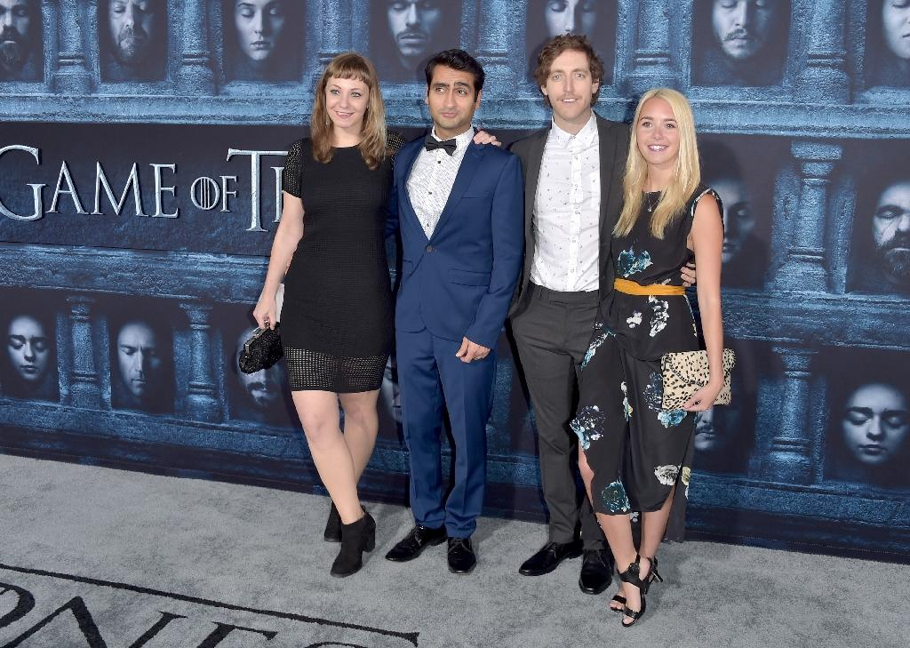 "From left, Emily V. Gordon, Kumail Nanjiani, Thomas Middleditch, and Mollie Gates attend the premiere of HBO's ""Game Of Thrones"" Season 6 on April 10, 2016 in Hollywood, California"