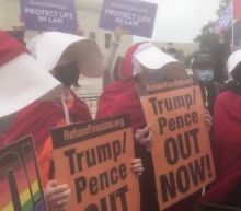 Handmaids Protest Outside Amy Coney Barrett Hearing in Washington