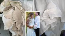 Bride wows with 'incredible' wedding dress cleaning hack during isolation
