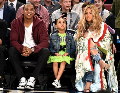Jay Z, Blue Ivy Carter, and Beyoncé Knowles sat courtside atthe NBA All-Star Game in February like the royalty they are. (Photo: Theo Wargo/Getty Images)