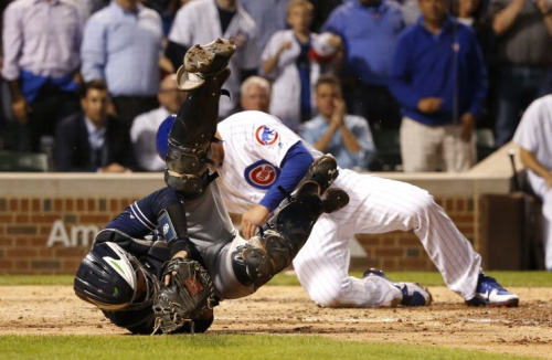 Anthony Rizzo and Austin Hedges were involved in a home plate collision Monday. (AP Photo)