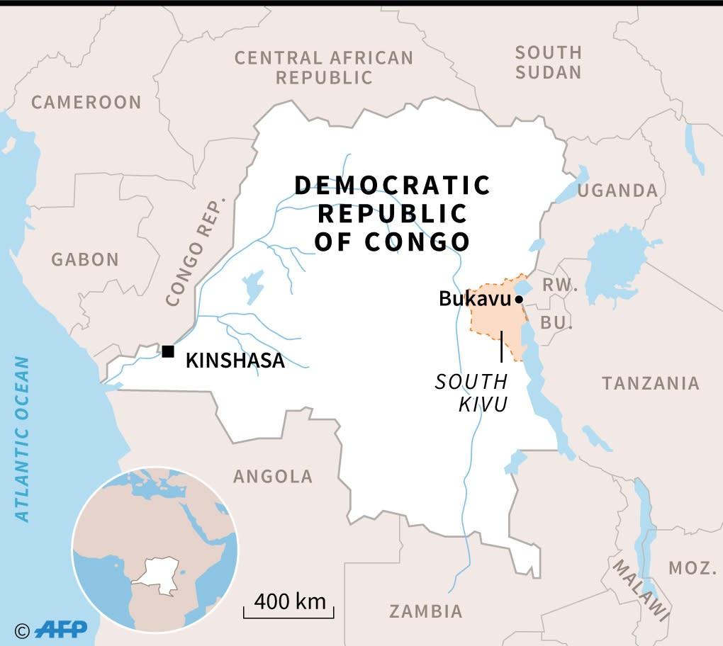 Map of the Democratic Republic of Congo, locating Bukavu, where Doctor Denis Mukwege treats women at Panzi hospital (AFP Photo/Gillian HANDYSIDE)