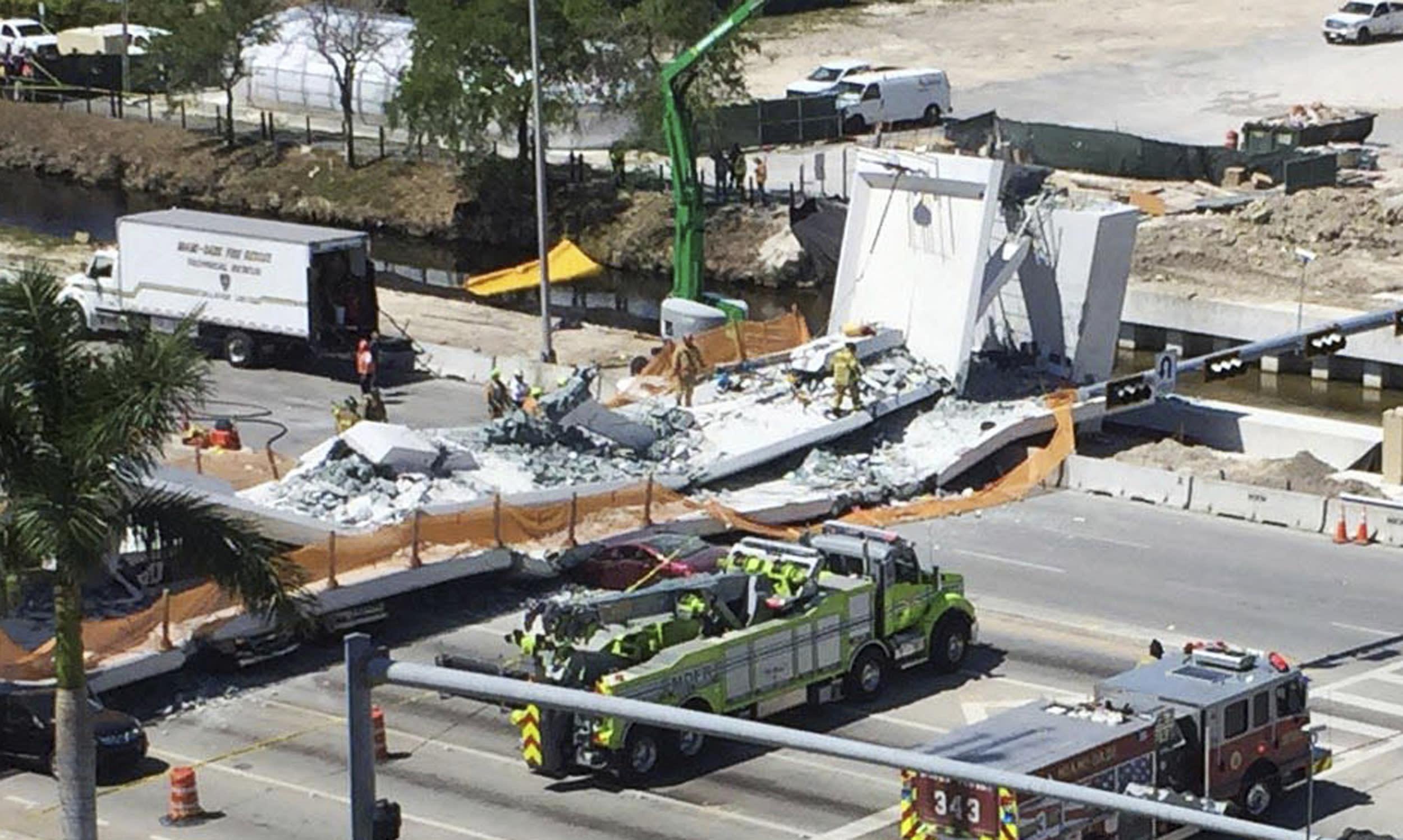 Cae Puente En Miami Construido Por Mcm Y Figg Bridge Design