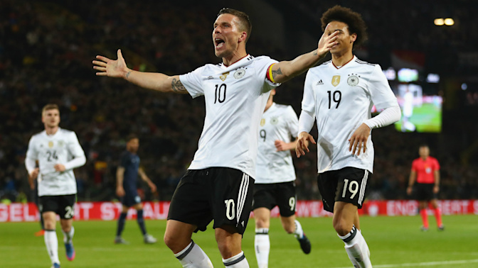 Podolski signs off in spectacular fashion to punish England for wasting chances