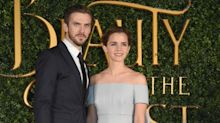 Emma Watson braves Storm Doris to join Dan Stevens at Beauty and the Beast launch