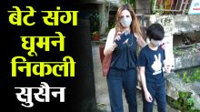 Sussanne Khan spotted with son at outside salon; Watch video