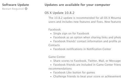 Apple releases OS X 10.8.2 update for Mountain Lion: Facebook integration, iMessage fixes and more