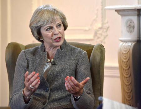 Britain's Prime Minister Theresa May speaks on the BBC's Andrew Marr Show in a recorded interview in Maidenhead