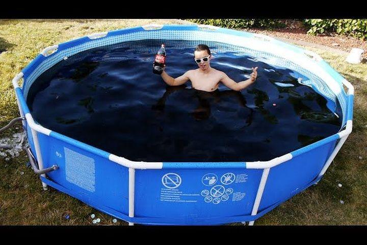 Dude frolics in 1 500 gallon pool of coca cola adds - Get a swimming pool full of liquor ...