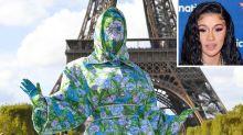 Cardi B Takes Paris Fashion Week in Head-to-Toe Designer Floral Ensemble