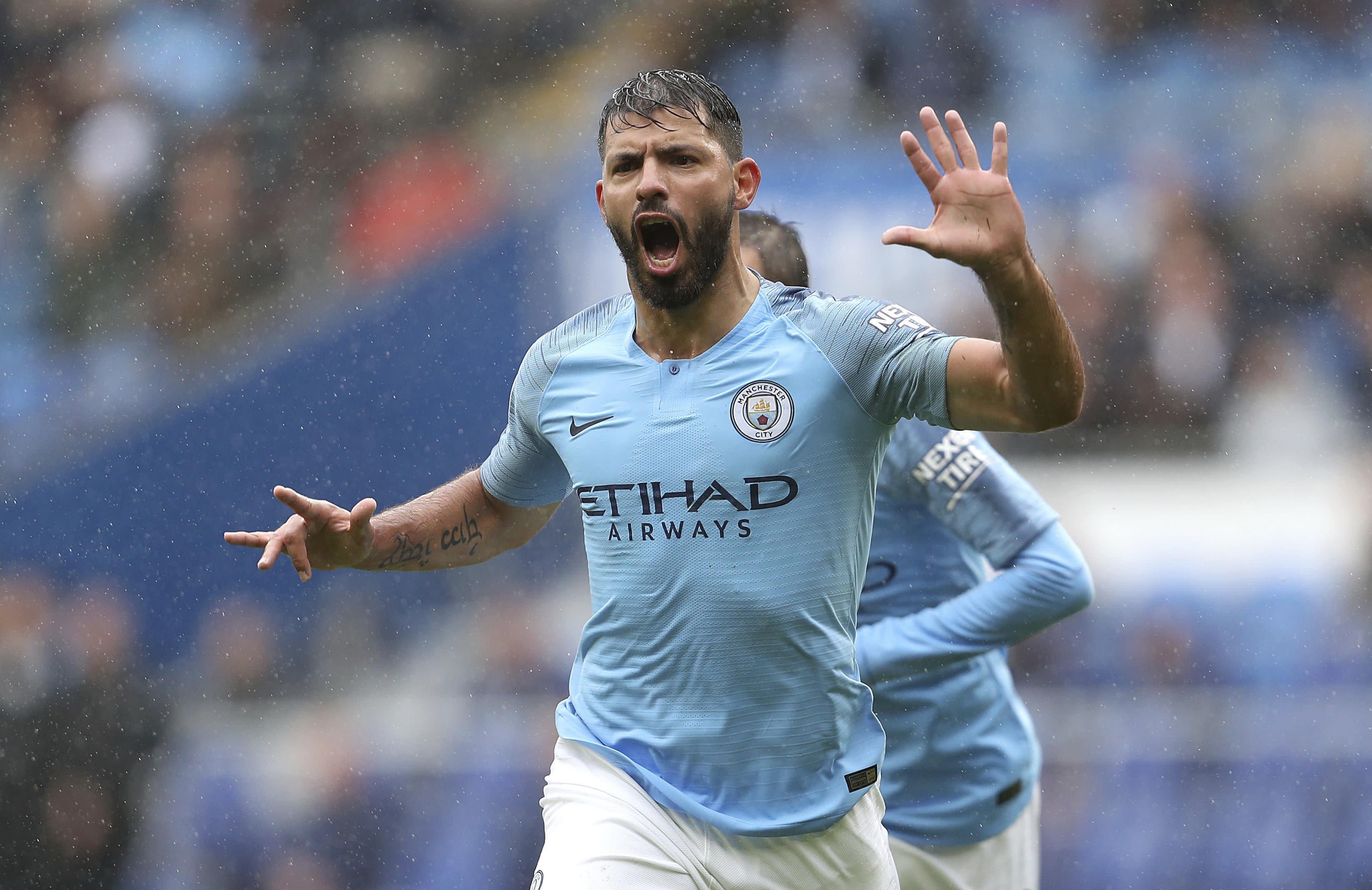 Aguero marks new deal with goal as City thrashes Cardiff 5-0