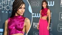 Ex-Disney star's metallic breastplate turns heads on red carpet