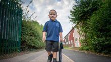 Four-year-old boy who has beaten leukaemia twice starts first day of school