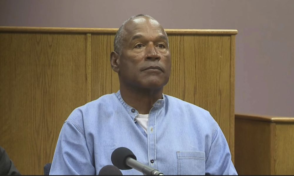 O.J. Simpson appears via video for his parole hearing at the Lovelock Correctional Center in Nevada. (AP)