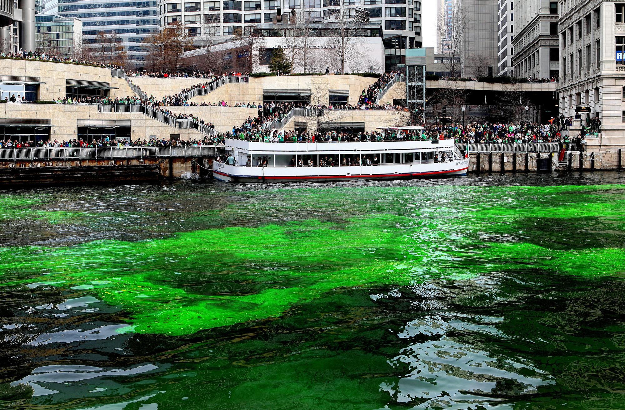The Windy City Celebrates Its Annual Green Dyeing of the Chicago River for St. Patricks Day