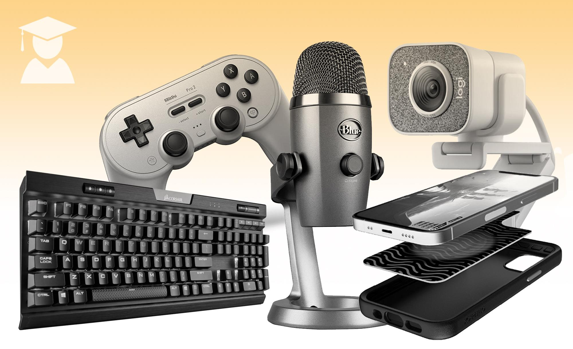 A collage of gaming gear from Engadget's Grad's gift guide.