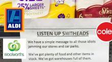 Woolies shopper spots obscene note in toilet paper panic-buyer aisle