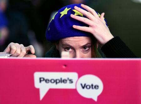 An anti-Brexit protester demonstrates outside the Houses of Parliamen in London