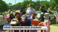 Local NFL player leads shoe giveaway to Nashville middle school