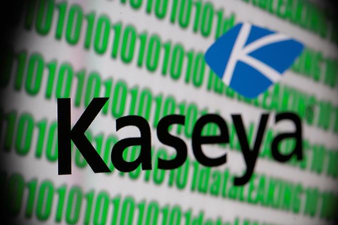 Kaseya logo and binary code seen in this illustration taken, July 5, 2021. REUTERS/Dado Ruvic/Illustration