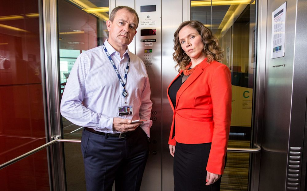 Scene stealers: Hugh Bonneville and Jessica Hynes in the BBC satire  - BBC