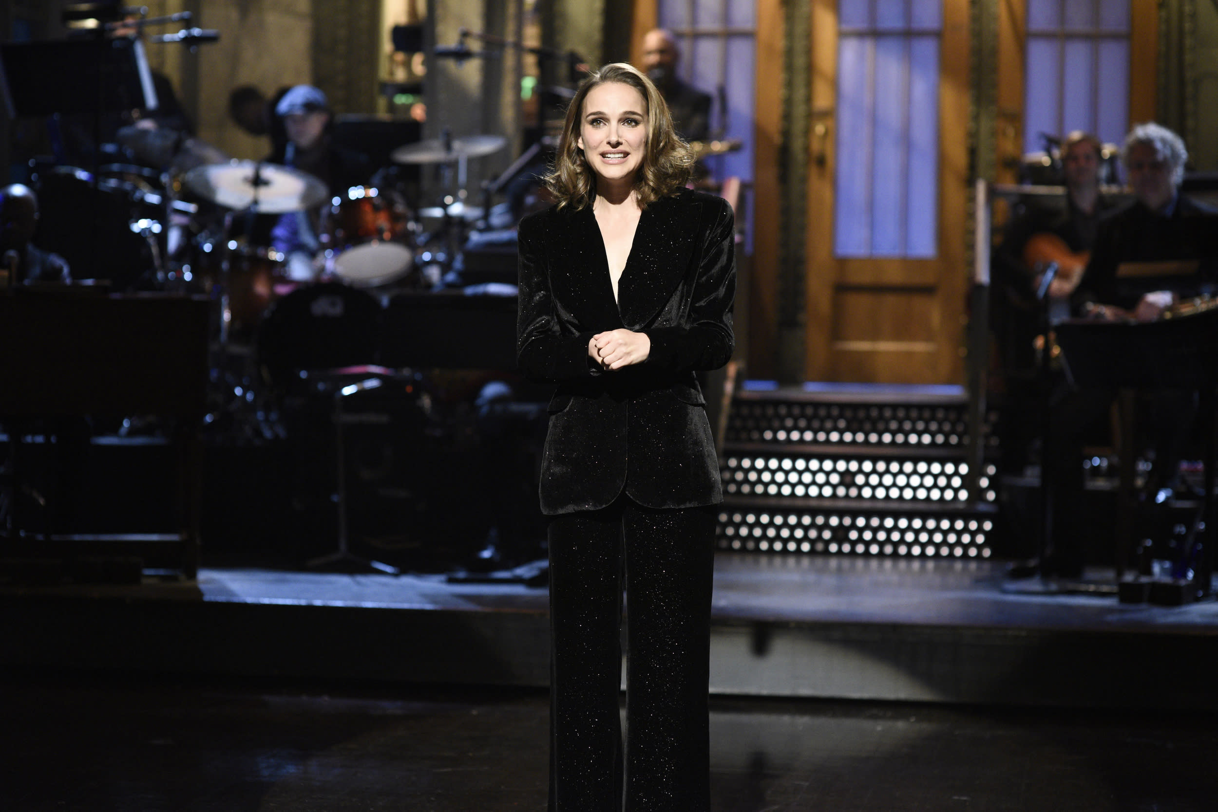 SATURDAY NIGHT LIVE -- Episode 1738 'Natalie Portman' -- Pictured: Natalie Portman during the opening monologue in Studio 8H on Saturday, February 3, 2018 -- (Photo by: Will Heath/NBC)